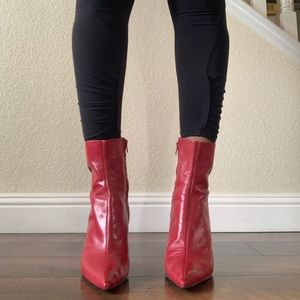Nine West Leather Red Boots Size 10